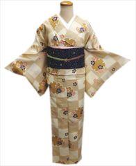洗える袷着物と軽装帯セット薄茶きなり市松地雪輪桜LL=トールサイズ