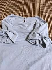 ☆新品☆袖ふんわりリボン肌ざわり良い綿100%☆薄いブルーM