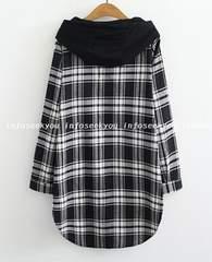 3L4L大きいサイズ/フード付きチェックシャツジャケット