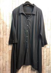 新品☆8Lチュニック丈ロングシャツ羽織ってもOK♪黒☆j351