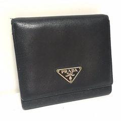 正規 PRADA レザー 3つ折り財布 ブラック 黒 レディース メンズ