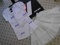 ワンスポ★新品!キャンディリボンT×ボリュームスカート/白