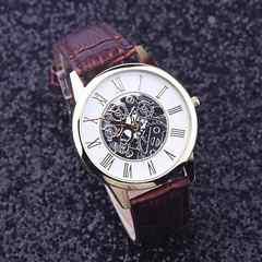 腕時計ギリシャ文字クォーツ高品質レザー ベルト ウォッチ 茶色
