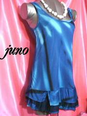 リップグラデーション柄ラメ裾フリルシースルーメッシュチュールノースリーブタンクキャミワンピ青ブルー