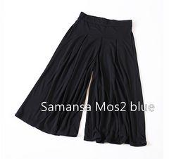 Samansa Mos2 blue*サマンサモスモス*足首丈ガウチョパンツ・Lサイズ♪