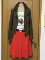ロペピクニック 大人カジュアル 朱赤のフレアスカート♪