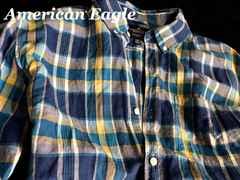 【アメリカンイーグル】Vintage リネンシャツ US-XL/Blue