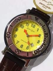 腕時計 ピエールカルダン 黄色 ベルト焦げ茶色