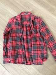 GUチェックシャツM赤ネルシャツ