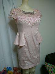 花レース ピンク ミニドレス