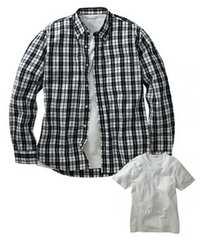 8Lサイズ高貴紳士的!濃紺チェック!長袖シャツ!and半袖!白Tシャツ!セット!新品!