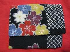 着物生地 桜花柄とボーダーリバーシブル カードケース ポーチ  未使用
