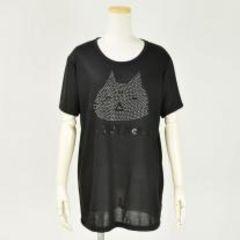 mintNeko・ロゴ&ネコスタッズTシャツ。ブラックLサイズ
