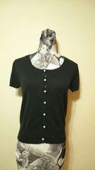 Mサイズ 丸襟 半袖ニットカーディガン 黒 ブラック パールボタン