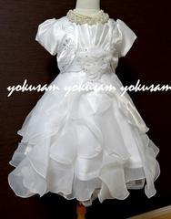豪華ボレロ付き★純白のふわふわドレス★120結婚式・発表会