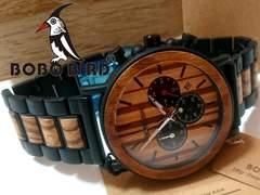 新品【箱・取説付】BOBO BIRD【木製】クロノグラフ メンズ腕時計
