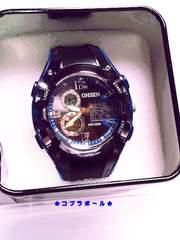 ★OHSEN★デジ/アナ★クロノMEN'S腕時計★青/黒★新品★003★?★