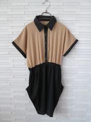 ポケット付きシフォンドッキングシャツワンピース/ベージュ×黒M