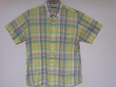 即決USA古着鮮やかチェックデザイン半袖シャツ!ビンテージアメカジレア
