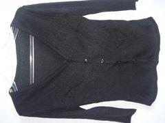 500スタ美品ビバユー\11550ラメ黒7分袖カーディガンピンダイ