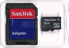 クラス4 SanDisk純正 マイクロSDHC8GB(microSD)+アダプター 普通郵便OK