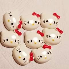F ☆ 8コ ☆ 赤リボン キティ フェイス ☆ 約1.5cm ☆ デコパーツ