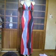 赤系ビジュー ホルターロングドレス