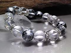 銀四神獣オニキス水晶12ミリ数珠