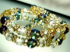 64面ダイヤカット水晶§ブルーオーラ§10ミリ§金ロンデル§ペア数珠
