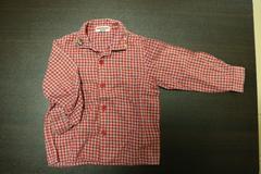 ミキハウス赤色チェック長袖シャツ(90)