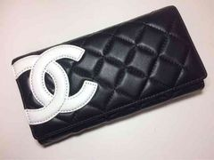 CHANEL カンボンライン ガマ口二つ折り長財布