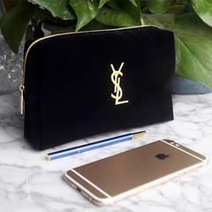イヴ・サンローラン YSL グログラン刺繍ポーチ ブラック
