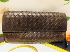 ボッテガヴェネタ二つ折長財布ブラウンレザーイントレチャート箱