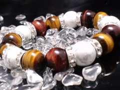 タイガーアイxレッドタイガーアイxホワイトターコイズ12銀ロンデル数珠