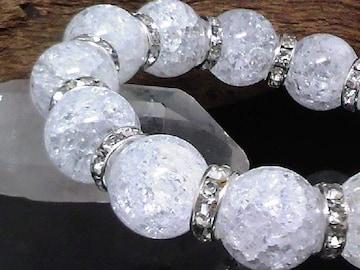 14ミリ§爆裂水晶クラック水晶銀ロンデル数珠