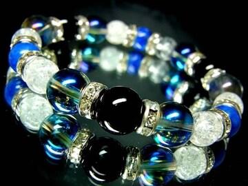 オニキス§ブルーオーラ10ミリ§クラック水晶ラピスラズリ8ミリ金ロンデル