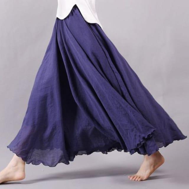 ふんわり★森ガール★マキシ丈スカート(フリーサイズ、黒) < 女性ファッションの