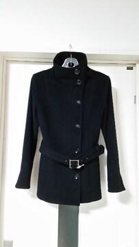 美品 ラストシーン スタンドカラー ベルト付き カシミヤコート 黒 M