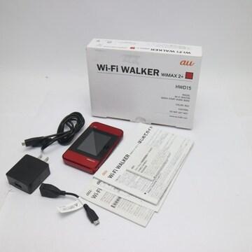 ●美品●au HWD15 Wi-Fi WALKER WiMAX 2+ レッド●