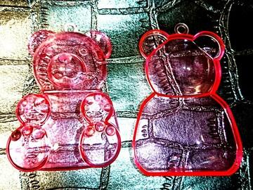 レトロ くま 立体 プラケース ピンク ケース 入れ物 小物入れ 熊