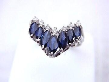 即買 Pt 1.43ct サファイヤ ダイヤモンド リング 仕上げ済 12号 r-136★dot