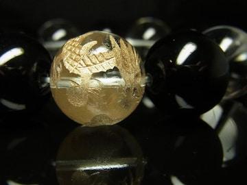 開運天然石 金彫皇帝龍本水晶 オニキス 本水晶ブレスレット
