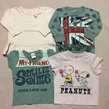 80cm 半袖Tシャツ2枚 長袖Tシャツ2枚 スヌーピー べべ eaB