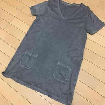 無印良品◆Vネック半袖Tシャツチュニック◆Lブラウン