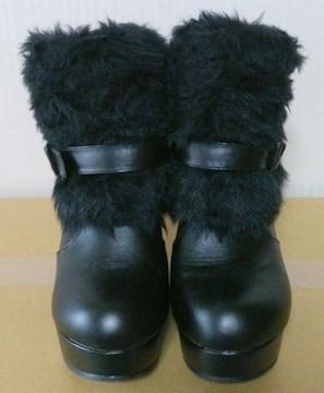 PJ★ベルト付き フェイクファー ウエッジソール ブーツ
