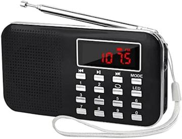 色黒い LEFON 充電式 多機能 AM FMポケットラジオ USB.microSDカ