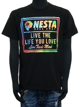 新品ネスタ192NB1010スペクトルレインボーロゴTシャツ黒M