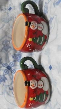 特価未使用美品可愛い X'mas用 陶器ティーカップ 2個セット必見