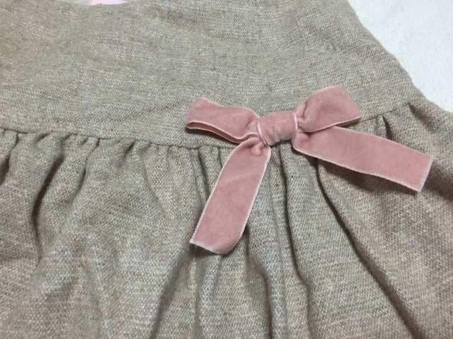 ディアマンテ☆ベージュ×ピンクリボンスカート < ブランドの