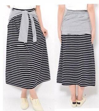 新品【7253】3L(大きいサイズ)グレー腰巻風Xボーダースカート